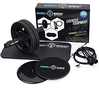 3-in-1 AB Wheel Roller Kit + Knee Pad + Jump Rope