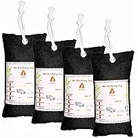 Audew Bolsa de Carbón Activo de Bambú, Deshumidificador Purificador de Aire Deshumidificador para Frigorífico/Closet/Coche/Area de Mascota/Cocina(4 Pz)