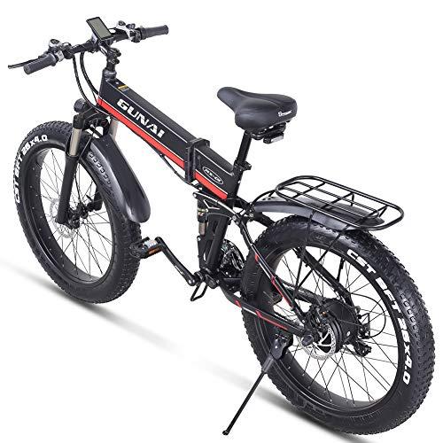 GUNAI 26 Inches Electric Snow Bike 1000W 48V Folding Fat Tire Mountain Bike with Rear Seat MTB 21 Speed E-bike Pedal Assist Hydraulic Disc Brake