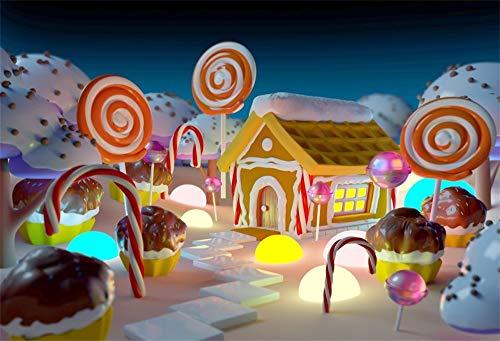 YongFoto 7x5ft Fotografie Achtergrond Fairy Tale Lollipop Nacht Stad Landschap Chocolade Taarten Baby Douche Verjaardagsfeestje Dezzert Tafel Foto Backdrops Vakantie Feest Fotoshoot Achtergrond Studio Props