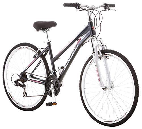 Schwinn GTX 1.0 Comfort Adult Hybrid Bike, Dual Sport Bicycle, 16-Inch Aluminum Frame, Black/Pink