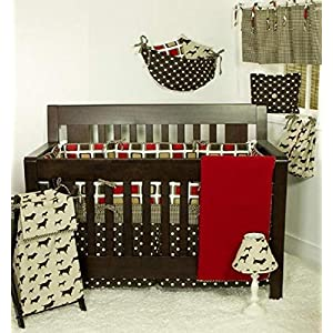 Cotton Tale Designs 7 Piece Bedding Set, Houndstooth, Red/Brown