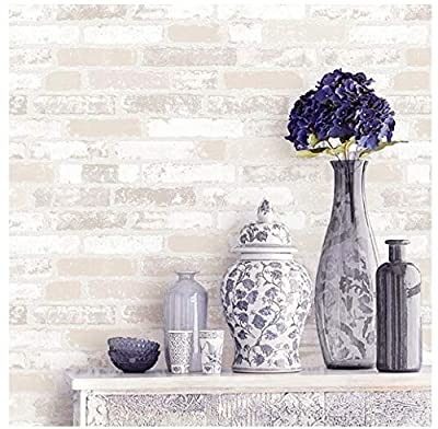 Blooming Wall Faux Rustic Brick Wall Wallpaper Wall Mural, Priced in Double Rolls, Looks Real Up!03