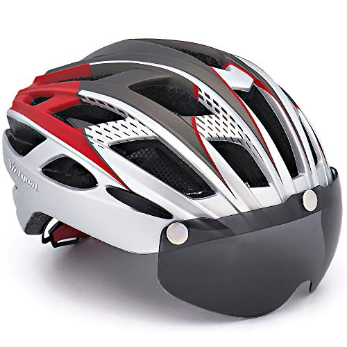 VICTGOAL Casco Bici con Visiera Protettivi Magnetici Rimovibili Certificato CE Casco Bici da Corsa per Adulto Uomo Donna 57-61 CM (Argento)