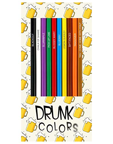 Drunk Colors - Set of 12 Alcohol-Themed Funny Colored Pencils
