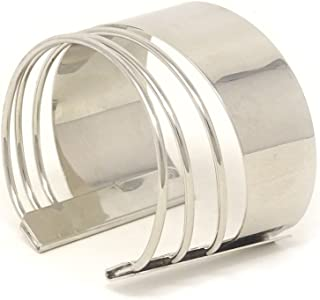 Yueton Silvertone Rigid Steel Memory Wire Metal Circle Split Ring Coil Wire Thin Jewelry Hammered Bunch Cuff Bracelet Bangle (Silver)