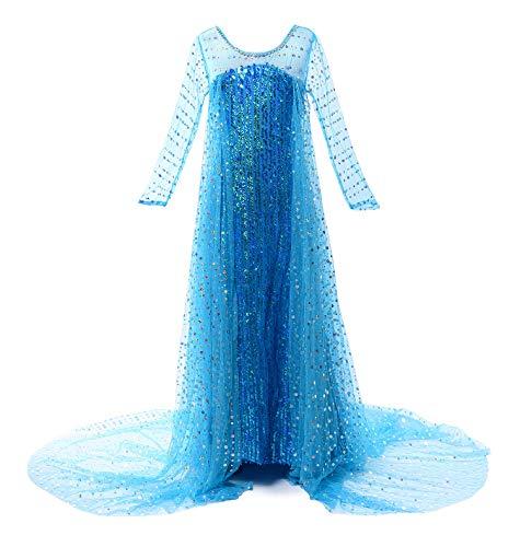 JerrisApparel Costume Cosplay della Principessa Partito Ragazza Vestito Maxi con Il Bello Diamante (100cm, Paillette Elsa)