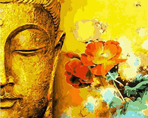 fbnrql Wandkunst Gelbe Buddhastatuen und Blumen. Malerei Bilder Leinwand Malerei Leinwand Kunst Wohnzimmer Schlafzimmer Dekor Leinwand + Rahmen
