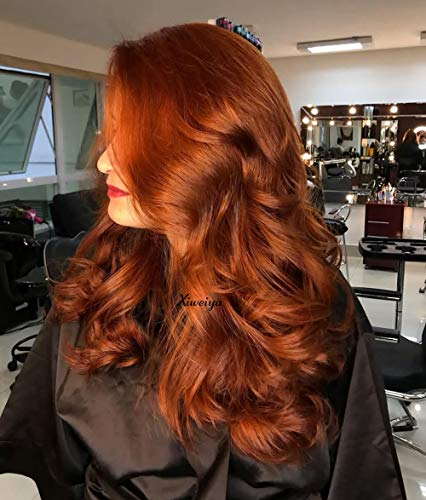 Xiweiya Long Cheveux bouclés perruque Lace Front en cuivre rouge synthétique Perruques avec résistant à la chaleur gratuit supplémentaire pour femme A