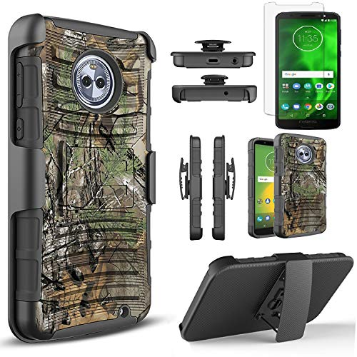 Circlemalls Compatible for Motorola Moto G6 Phone Case, [Not Fit Moto G6 Play/G6 Plus] with [Tempered Glass Screen Protector Included], Armor Heavy Duty Kickstand Cover with Belt Clip Holster - Camo