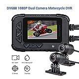 Blueskysea DV688 Motorrad Dash Cam mit GPS 1080p Dual Lens Motorrad Aufnahme Kamera 2,35' LCD IP67...