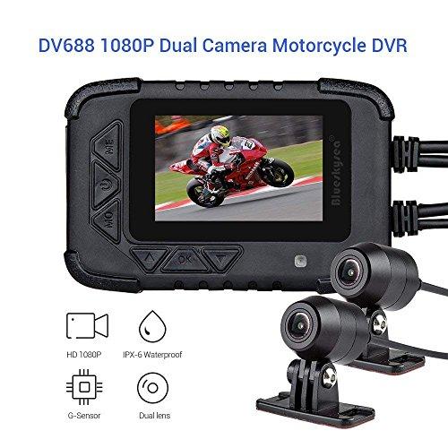 """Blueskysea DV688 Motorrad Dash Cam mit GPS 1080p Dual Lens Motorrad Aufnahme Kamera 2,35\"""" LCD IP67 Wasserdichte Bildschirm 130 Grad Winkel mit Nachtsicht (DV688+GPS)"""