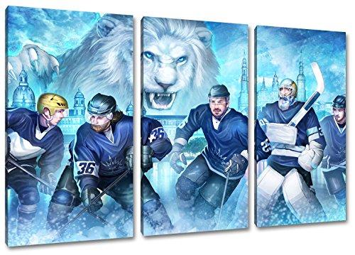 Dresden Eishockey, Fan Artikel Leinwandbild 3Teiler Gesamtmaß 120x80cm, Auf Holzrahmen gespannt, Kein Poster oder billig Plakat, Must Have für echte Fans