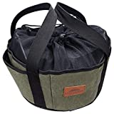 YARNOW Camp Dutch Oven Tote Canvas Barbecue Storage Bag Pouch Cooking Utensils Organizer Hand Bag for Outdoor Garden Picnic