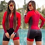 XCHJY con el Ciclismo Juego de Las Mujeres Negro Ciclismo Jersey Skinsuit Mono Ciclismo Set Pink Gel Pad (Color : Red, Size : M)