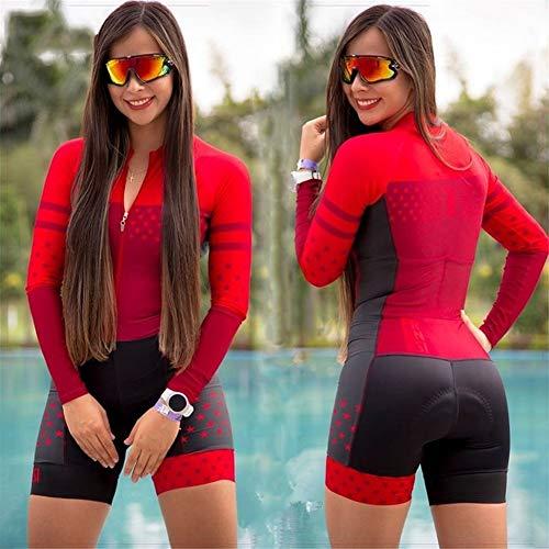 YTBUBOR con el Ciclismo Juego de Las Mujeres Negro Ciclismo Jersey Skinsuit Mono Ciclismo Set Pink Gel Pad (Color : Red, Size : S)