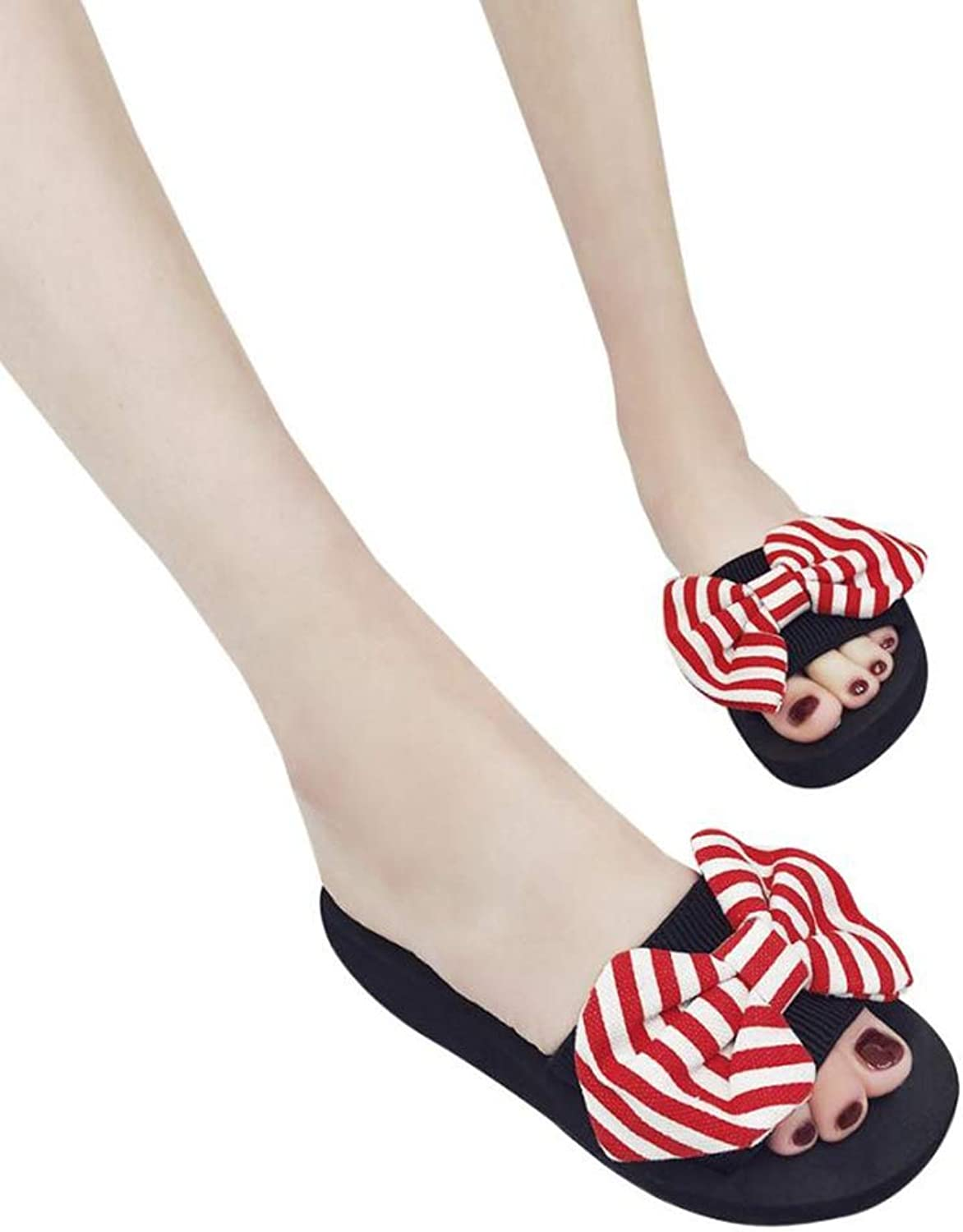 Women Summer Elegant Bow Sandals Slipper Female Stripe Pattern Indoor Outdoor Flip-Flops Wedges Beach shoes
