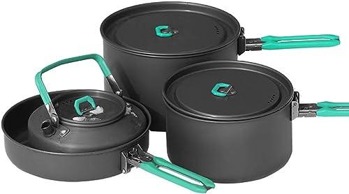 JB-CJ Batterie De Cuisine Camping Poêle Anti-adhésive Théière Portable Voyage en Plein Air Randonnée Sac à Dos Cuisine Pot
