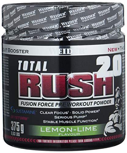 WEIDER Total RUSH 2.0 Pre-Workout Pulver, Lemon-Lime, 375 g Energy Booster für mehr Leistung im Gym