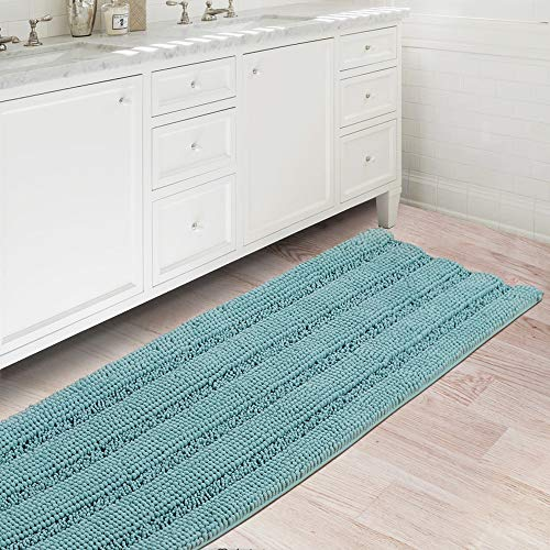 Bath Rugs Ultra Thick and Soft Texture Bath Mat Chenille Plush Striped Floor Mats Hand Tufted Bath Rug with Non-Slip Backing Door Mat for Kitchen/Entryway (Duck Egg Blue - 47