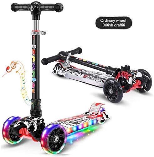 Children's step inklapbare aluminium legering skateboard kinderen hoogte verstelbaar knipperlicht Wheel Foot Scooters Toys Gifts, Standard roze Leuk speelgoed voor kinderen.