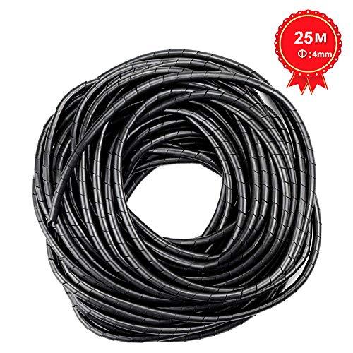 GTIWUNG Kabelschlauch Kabelspirale Spiralband Kabelschutz, Flexibler Spiralschlauch Kabelorganisation, Schwarz,25M×4mm