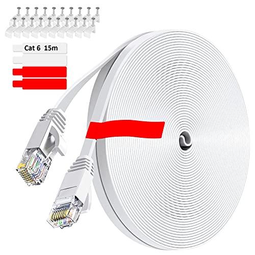 GLCON – 15m CAT 6 LAN Kabel 15 Meter Netzwerkkabel Hochgeschwindigkeits 1000Mbit/s Gigabit Ethernet-Kabel Cat.5e Cat.6 RJ45 Internet Patchkabel für PC PS5 Xbox Switch Modem Weiß