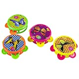 Boland 30781 - Pandereta de Mariposa (4 Unidades, diámetro 5,5 cm, Instrumento, piñata, obsequio, cumpleaños Infantiles, Corona de Pollo, Instrumento de percusión)