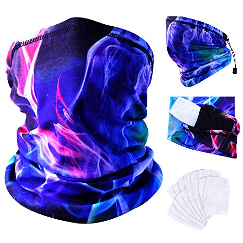 FASTSPOK Neck Gaiter with Safety Carbon Filters Multi-Pack 18Pcs, Multi-Purpose Seamless Face Mask Rave Bandanas for UV Protection, Dust, Outdoors, Festivals, Sports (Universe Blue)