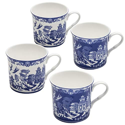 Grace Teaware Blue Willow Bone China Coffee Tea Mugs 10-Ounce (2 Assorted Patterns, Set of 4)