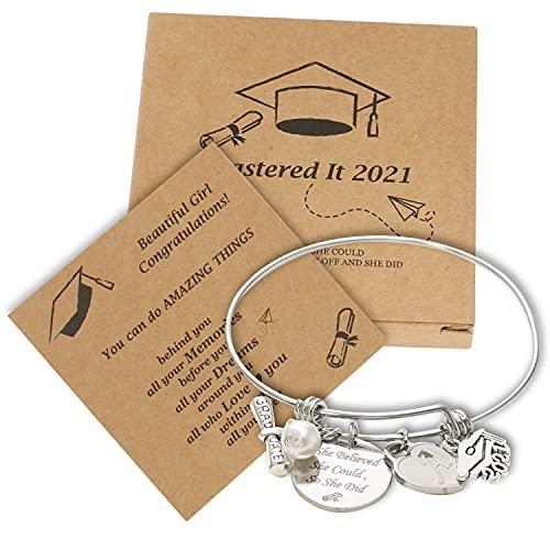 Pulsera de graduación con tarjeta de graduación y caja de regalo para hija, novia, gorra de graduación grabada y pulsera conmemorativa de texto, clase de regalos 2021