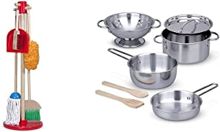 Melissa & Doug Dust, Sweep and Mop & Stainless Steel Pots & Pans Play Set