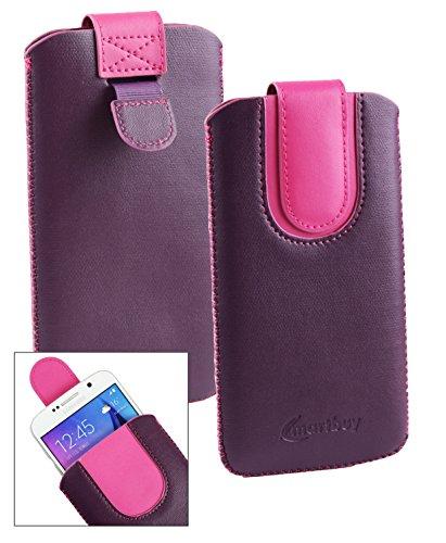 Emartbuy® Lila/Hot Rosa PU Leder Slide in Hülle Tasche Sleeve Halter (Größe LM2) Mit Zuglasche Mechanismus Geeignet Für Slok C3 Dual SIM Smartphone