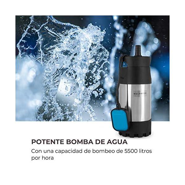 Waldbeck Cisternica Bomba para Estanque – Acero, 1000 W, 5500 l/h, Interruptor automático, Altura de extracción de 40 m…