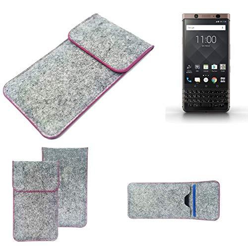 K-S-Trade Handy Schutz Hülle Für BlackBerry KEYone Bronze Edition Schutzhülle Handyhülle Filztasche Pouch Tasche Hülle Sleeve Filzhülle Hellgrau Pinker Rand