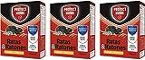 PROTECT HOME Raticida Mata Cereal de Alta eficacia y Poder de atracción para Zonas secas. Ratas y Ratones-3 x 50gr (150gr) – Pack de 3 Unidades, Rojo