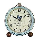 AVEKI - Reloj de mesa retro, color azul, sin pinchazos, funciona con pilas, con movimiento de...