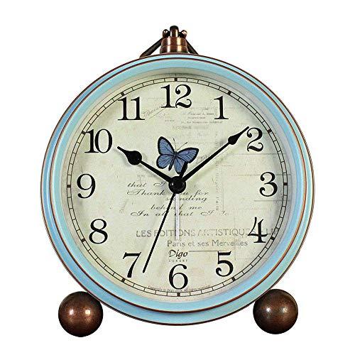 AVEKI - Reloj de Mesa, Estilo Vintage, antitictac, Funciona con Pilas, con Movimiento de Cuarzo, Cristal HD para Dormitorio, Sala de Estar y niños