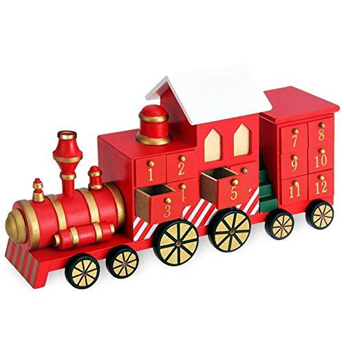 BAKAJI Calendario dell' Avvento di Natale in Legno con 24 Cassetti Numerati per Sorpresa Decorazioni Addobbi Natalizi Casa (Trenino Natale)