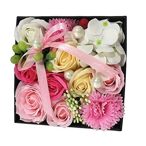 ソープフラワー プレゼント バラの花 花瓶付き 母の日 花束 造花 花 ギフト 石?花 石?フラワー 贈り物 ギフト 敬老の日 開店祝い 誕生日 記念日 お見舞いギフトボックス (pink)