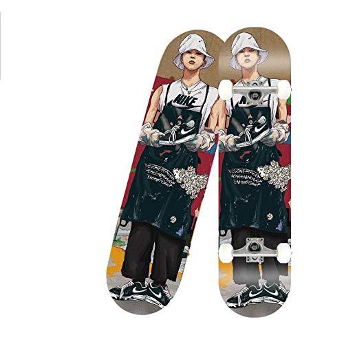 Rindasr Vierwielige esdoorn skateboard, 7-verdiepingen tellende North Maple schilderij met dubbelzijdige gladde, dubbele rocker voor jonge beginners (80x20cm)