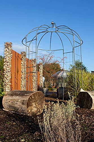 BURI Rosenpavillon Metall grau 270 Höhe Rankhilfe Gartenpavillon Rankgitter Rosenbogen