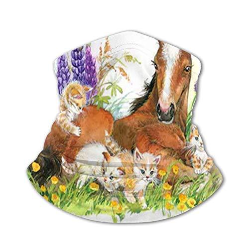 Gatos y caballos Gorros multifunción versátil Polaina para el cuello Pasamontañas Forro para casco Cubierta facial para montar para niños al aire libre Protección UV