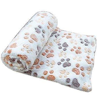 Befaith Doux chaud animal molleton couverture lit mat couverture coussin chien chiot animal Beige 60x40cm