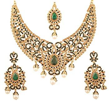 Touchstone New Indian Bollywood Desire Traditional Filigree Faux Green Emerald Color Exclusive Grand Bridal Jewelry Necklace Set in Antique Gold Tone for Women