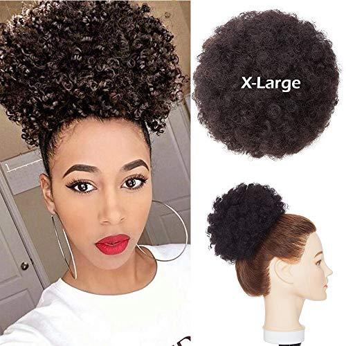 Chignon Afro Ricci Capelli Veri #1B Nero Naturale Chignon Elastico Grande Capelli Umani 15cm Bun Updo Messy Hair Scrunchies 66g