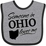 Inktastic Someone in Ohio Loves Me Baby Bib Heather and Black 33a99