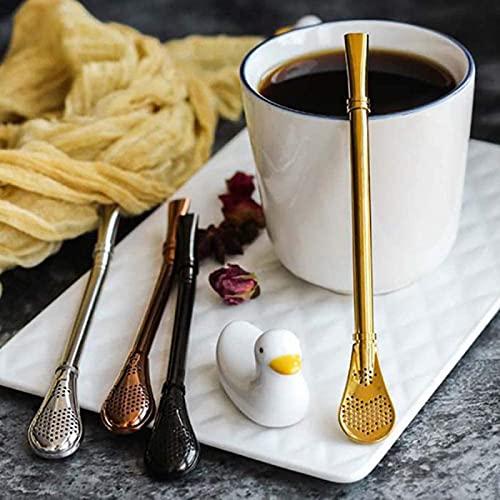 PHLPS Pajas de Metal Reutilizables de 4 pactas de Acero Inoxidable, pajitas de Bebida de Acero Inoxidable con Cuchara de Filtro, pajitas de Cuchara para Beber Impermeables para café Helado