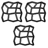 SAILUN 3X Irrégulier Moule Pavage pour Bricolage Allée Chemin Jardin Pavé en Plastique Moyen Béton Pierres Tremplin Stepping Stone (3 Pièces - Irrégulier)