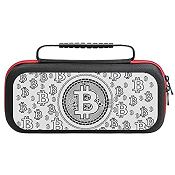 Bitcoin Lineart Pattern Case Compatible with Switch Case Protective Carry Bag Hard Shell Storage Bag Portable Travel Case for Switch Console Games Accessories